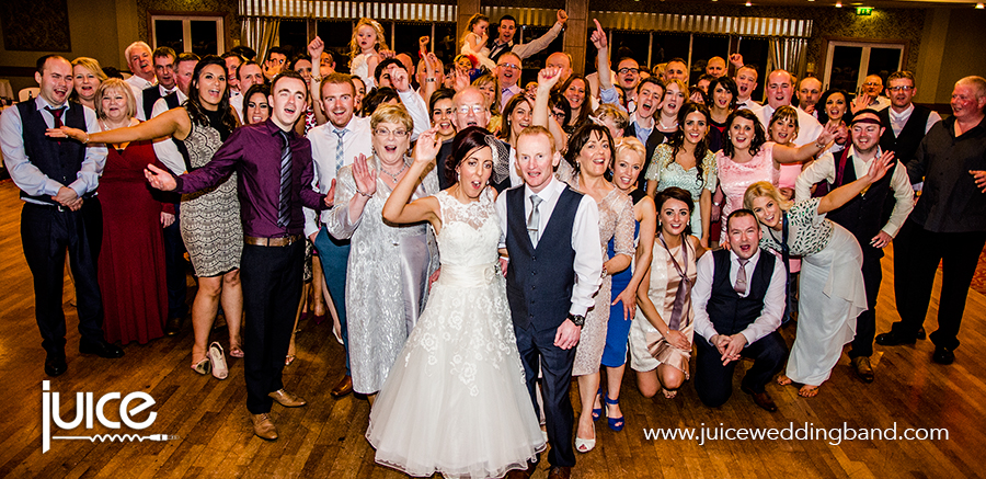 Juice Wedding Band Northern Ireland   pic of Karen, James and their guests