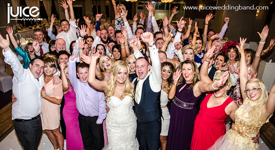 Juice Wedding Band Northern ireland | pic of Andrea, Matthew and their guests