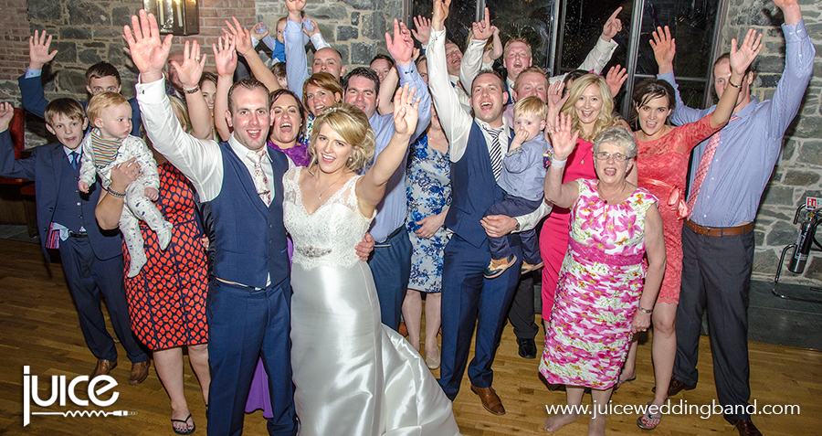 Juice wedding band Northern Ireland | pic of Joy, Niall and their guests