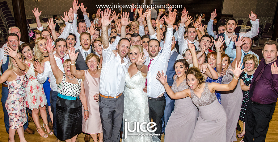 Juice wedding band Northern Ireland | pic of Cathy, Carl and their guests