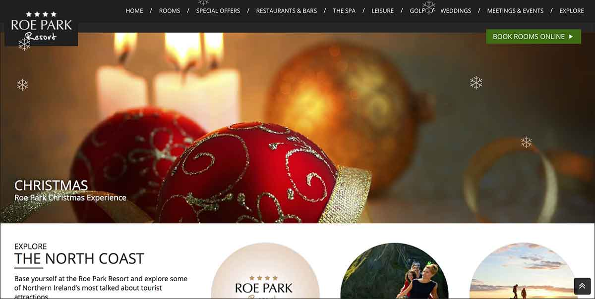 Screenshot of the Roe Park Resort Limavady County Derry website