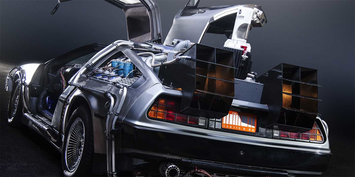 Photo of the DeLorean time machine from back to the future
