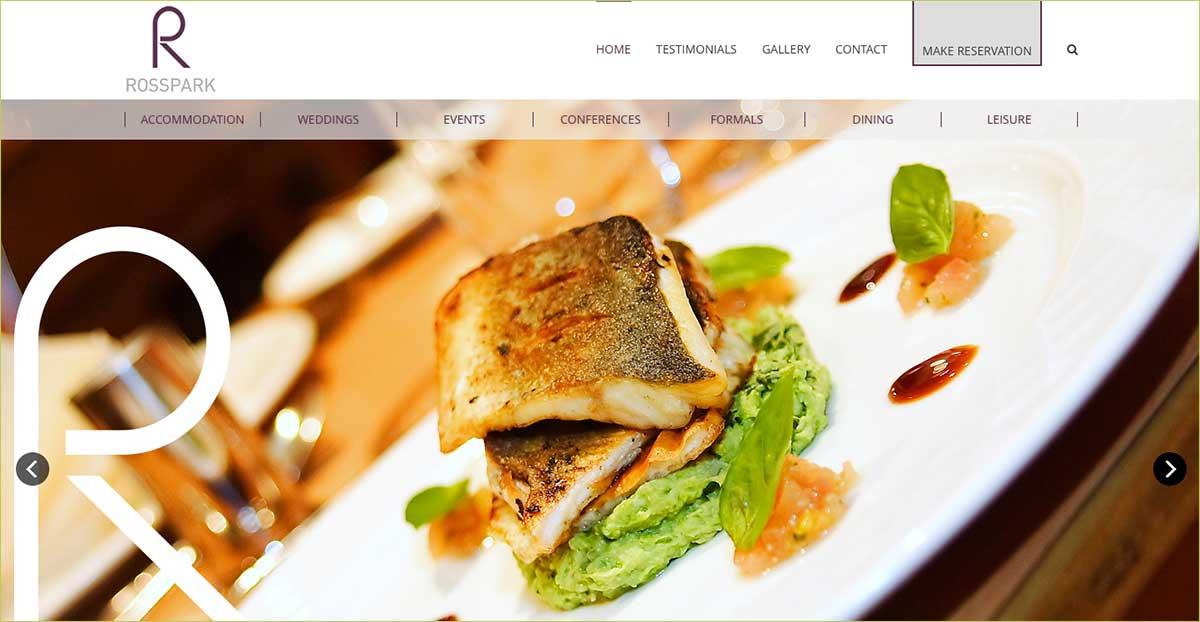 Screenshot of the Rosspark Hotel and wedding venue Kells Ballymena County Antrim website