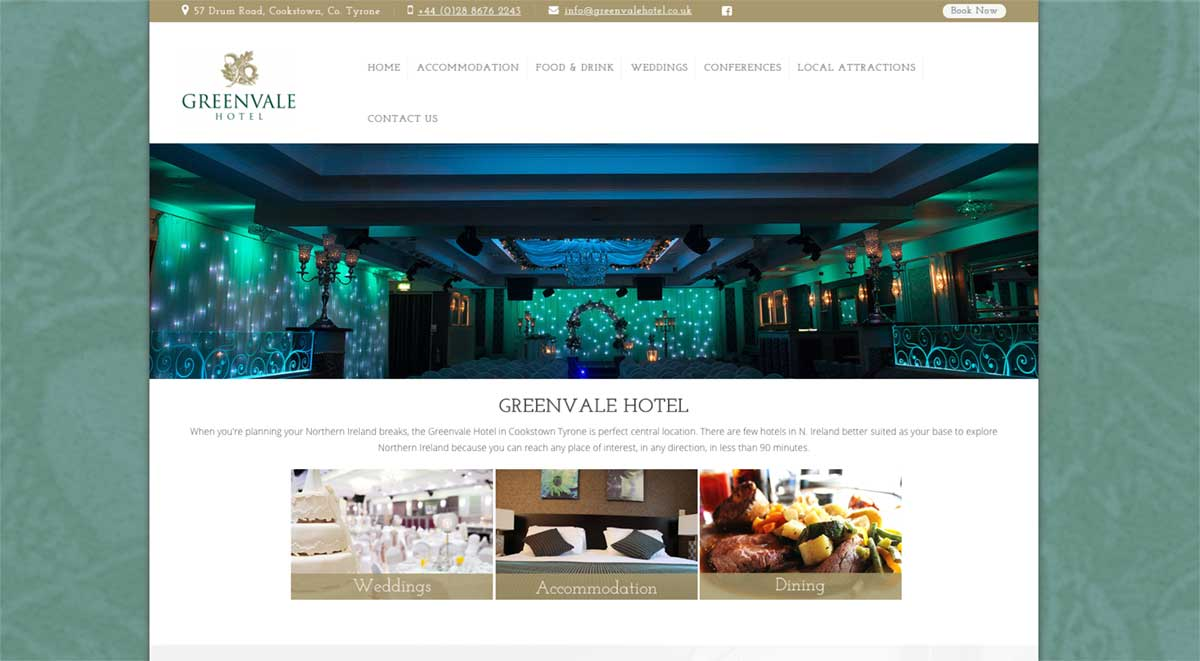Screenshot of the Greenvale Hotel and wedding venue Cookstown website