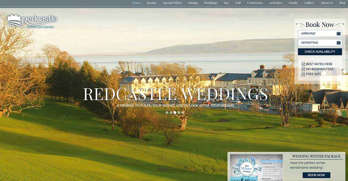 Screenshot of the Redcastle Hotel and wedding venue County Donegal website