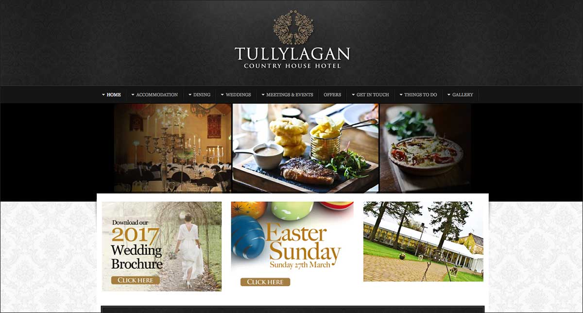 Screenshot of the Tullylagan Hotel Cookstown website