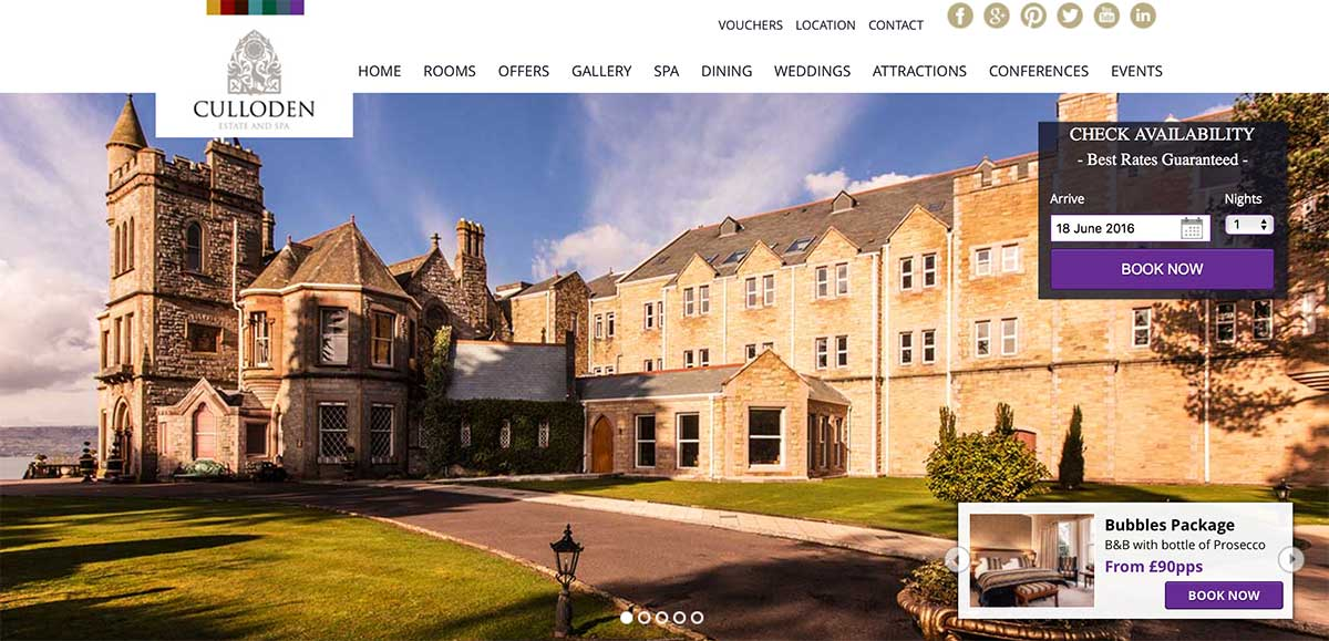 Screenshot of the Culloden Estate and Spa Belfast website