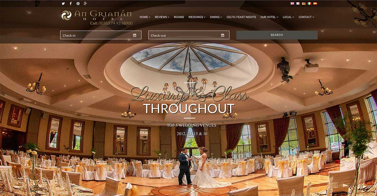 Screenshot of the An Grianan Hotel and wedding venue Burt Donegal website