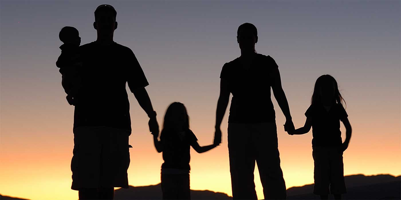 Photo of a family silhouette