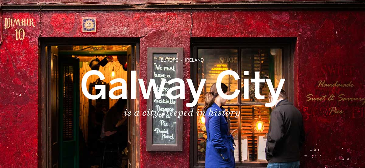 Screenshot of the Galway City page of the Lonely Planet website