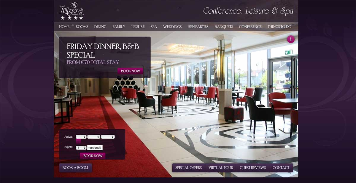 Screenshot of the Hillgrove Hotel and wedding venue Monaghan website