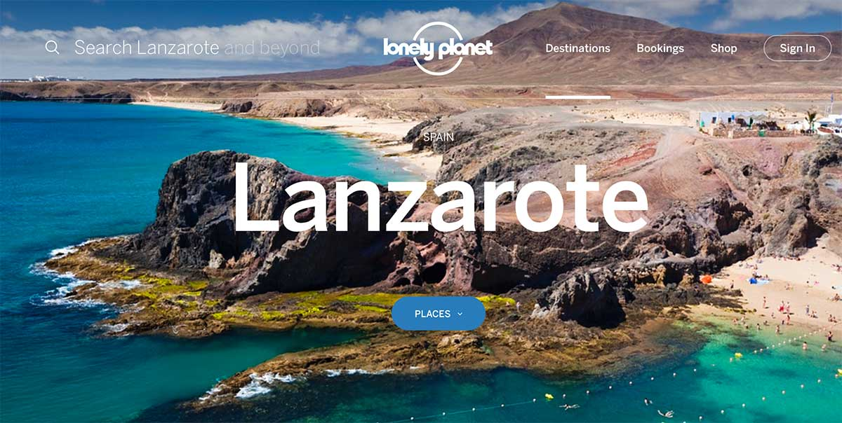 Screenshot of the Lanzarote page of the Lonely Planet website