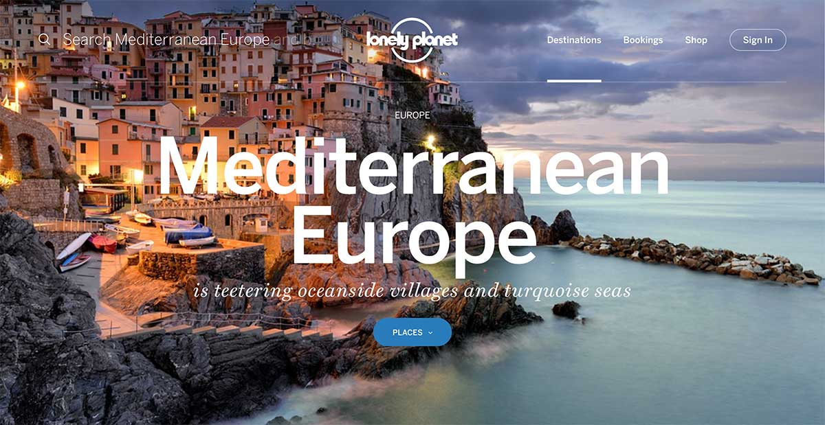 Screenshot of the Mediterranean page of the Lonely Planet website