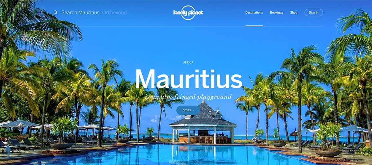 Screenshot of the Mauritius page of the Lonely Planet website