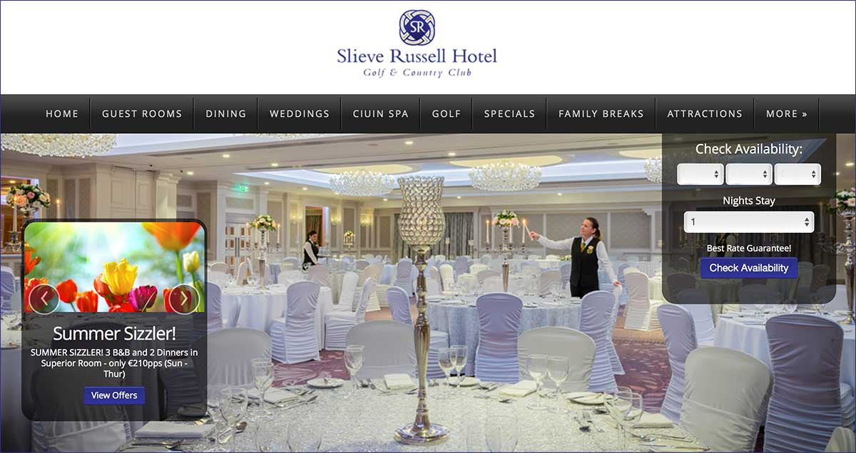 Screenshot of the Slieve Russell Hotel Cavan website