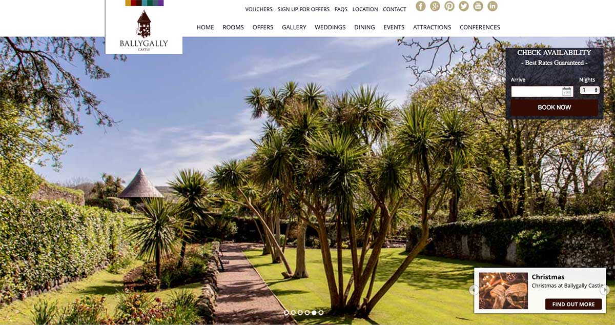 Screenshot of the Ballygally Castle County Antrim website