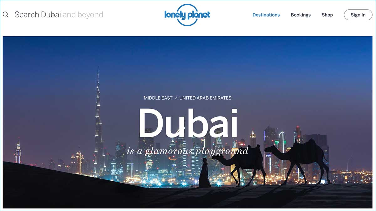 Screenshot of the Dubai page of the Lonely Planet website