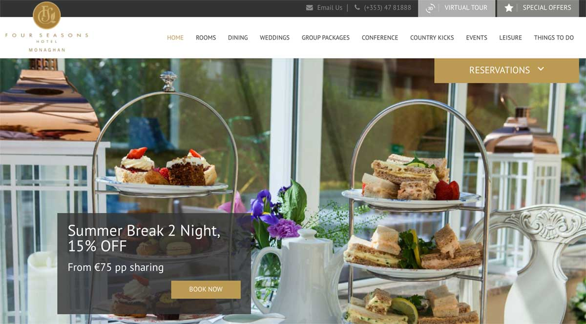 Screenshot of the Four Seasons hotel and wedding venue Monaghan Ireland
