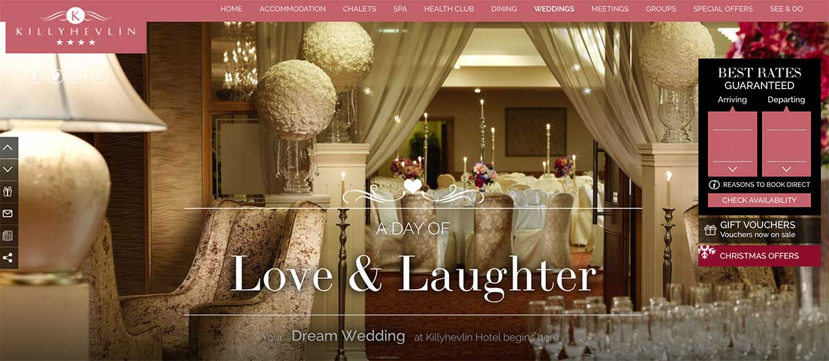 Screenshot of the Killyhevlin Hotel Enniskillen website
