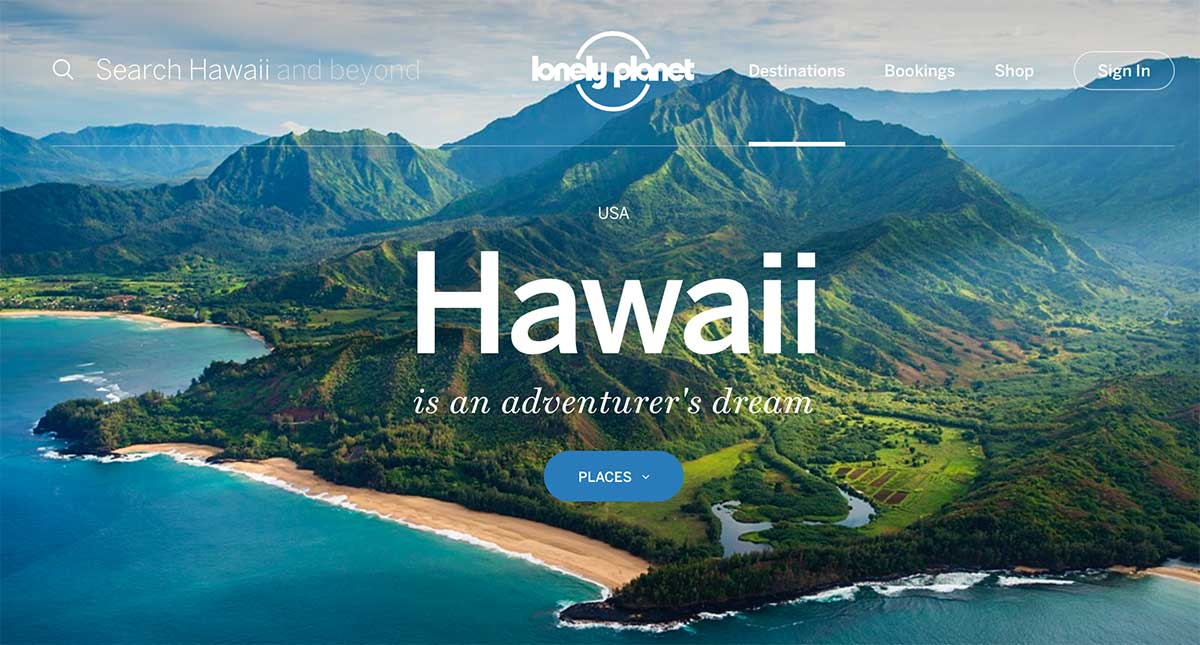 Screenshot of the Hawaii page of the Lonely Planet website