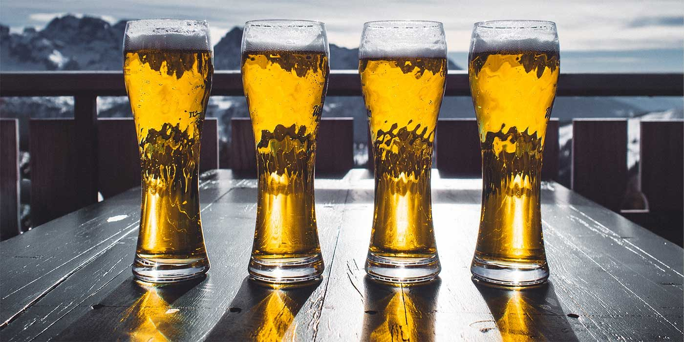 Photo of four pints of beer