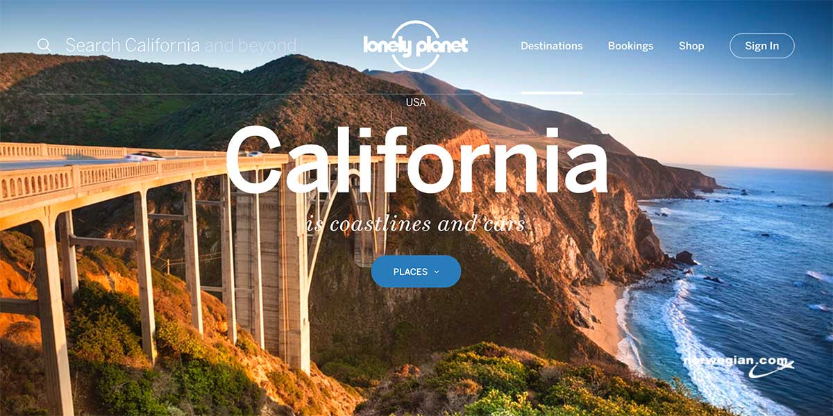 Honeymoon inspiration using a screenshot of the California page of the Lonely Planet website