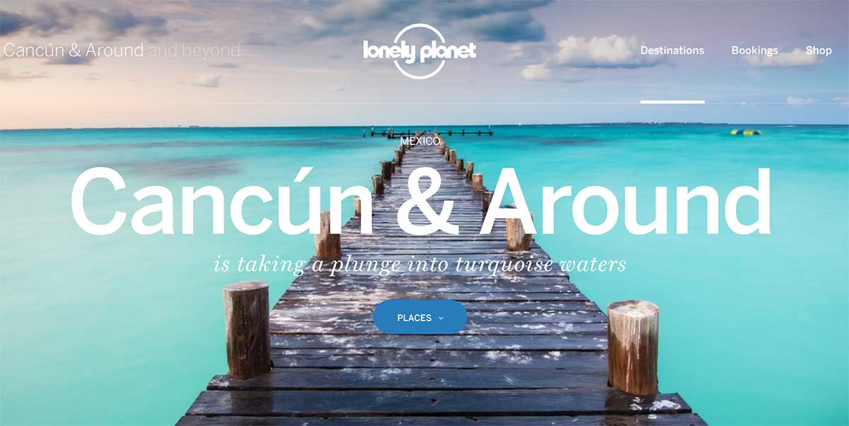 Screenshot of the Cancun page of the Lonely Planet website