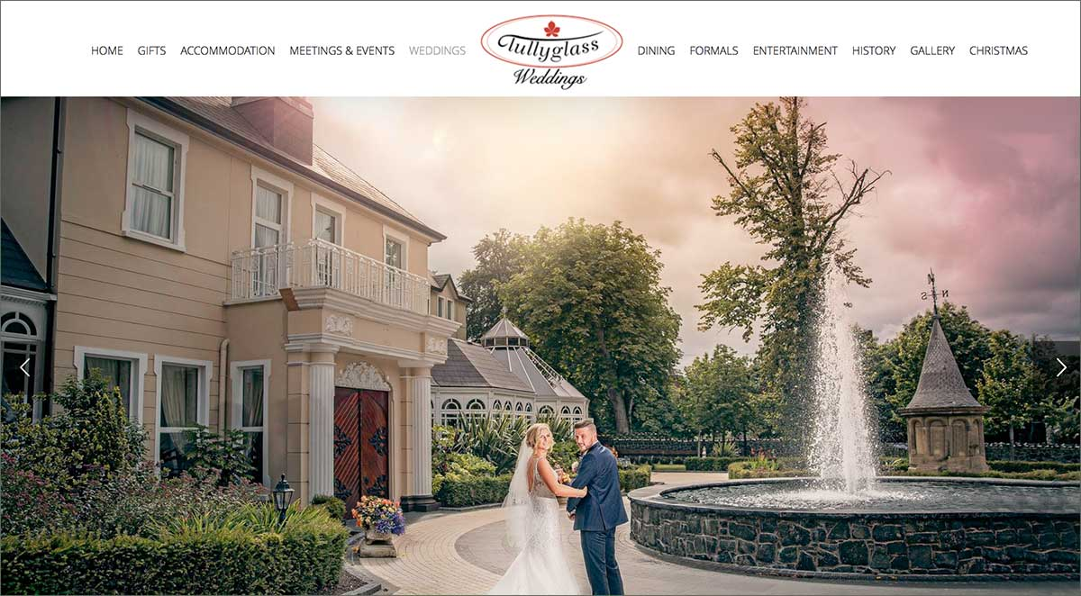 Screenshot of the Tullyglass Hotel and wedding  venue Ballymena website