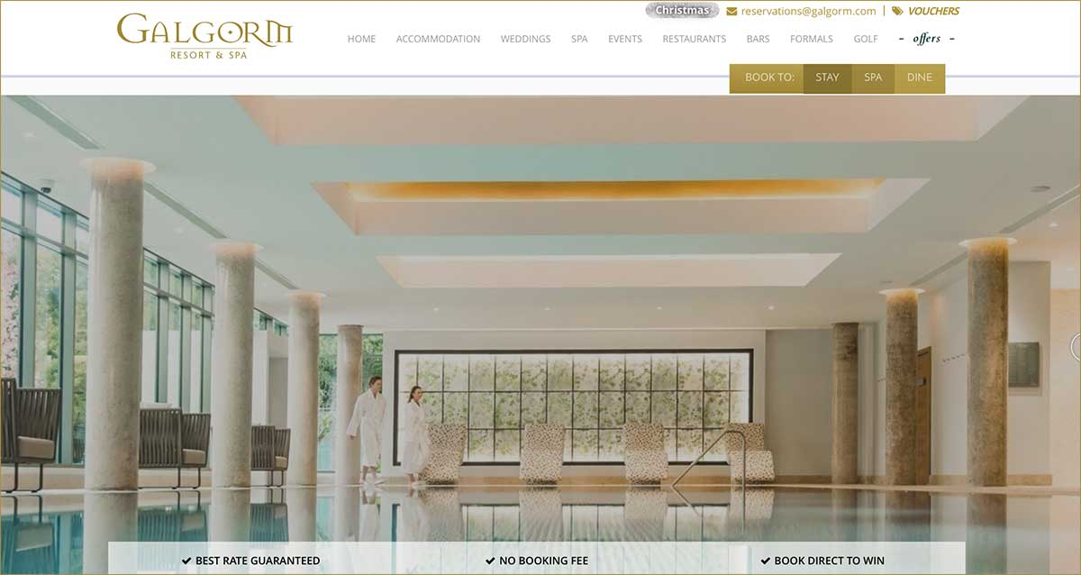 Screenshot of the Galgorm Resort & Spa Ballymena website