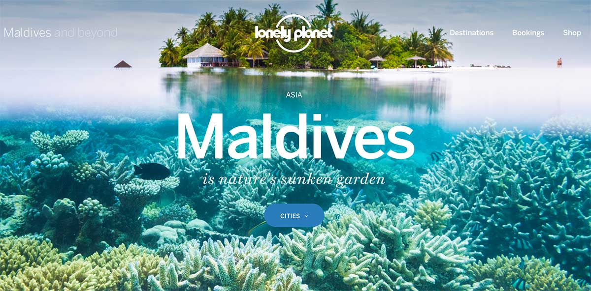 Screenshot of the Maldives page of the Lonely Planet website