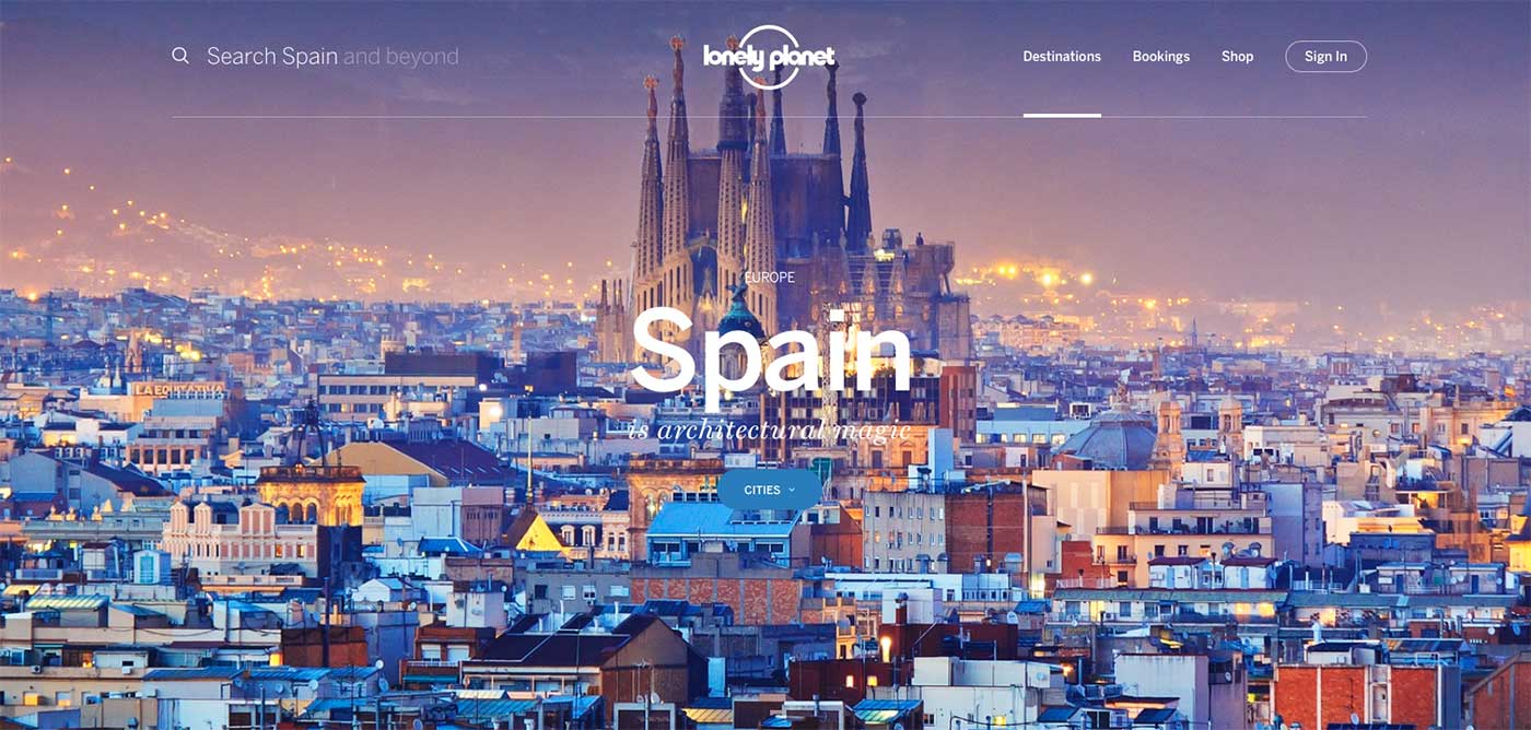 Screenshot of the Spain page of the Lonely Planet website