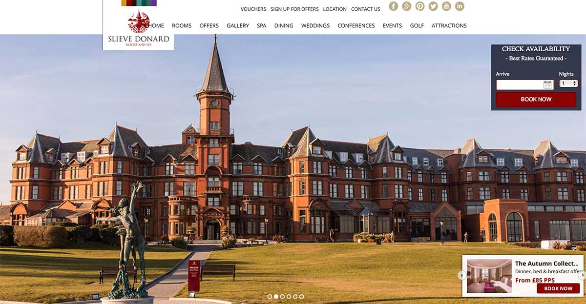 Screenshot of the Slieve Donard Resort and Spa Newcastle website