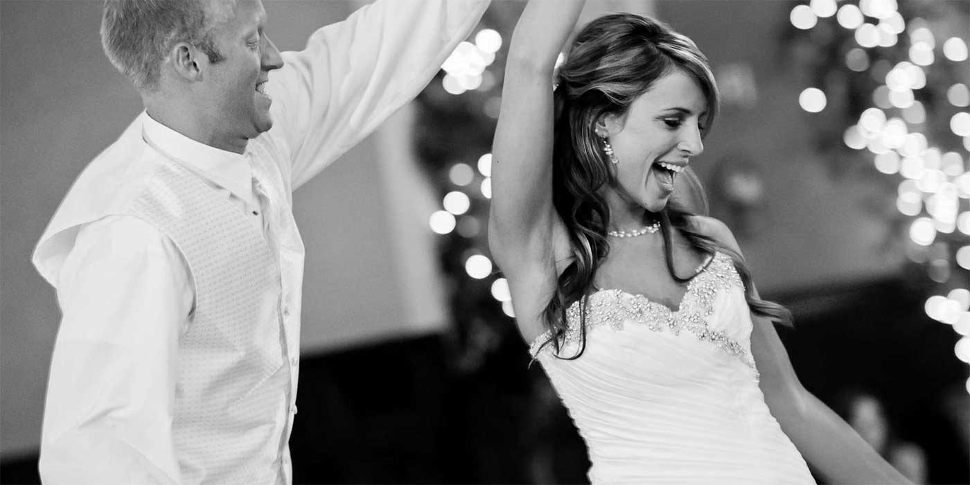 Photo of a bride and groom dancing