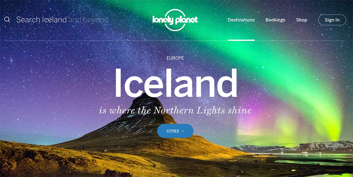 Screenshot of the Iceland page on the Lonely Planet website