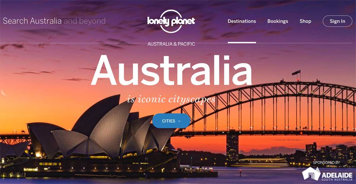 Screenshot of the Australia page of the Lonely Planet website