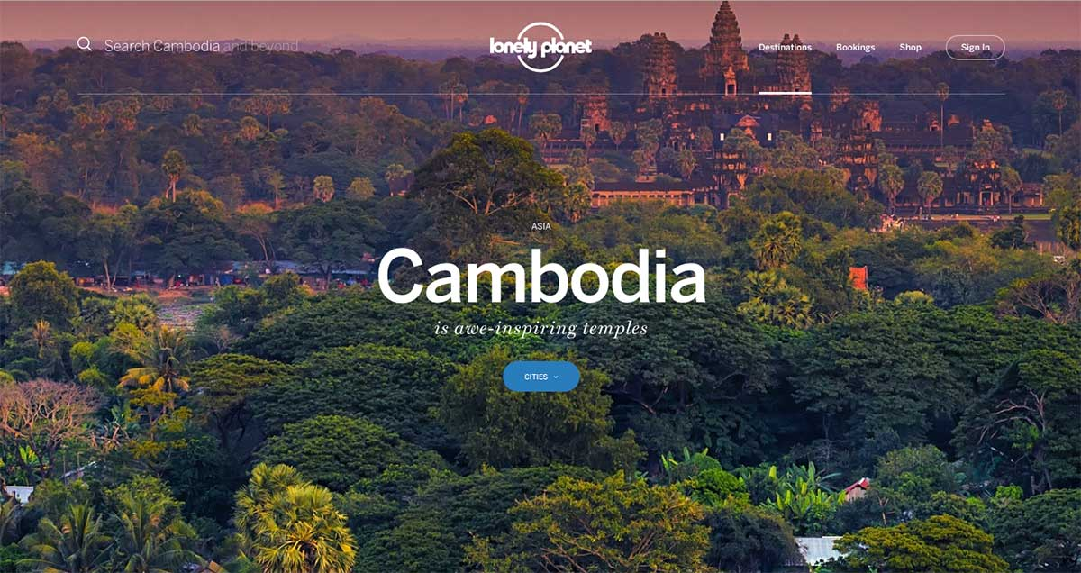 Screenshot of the Cambodia page of the Lonely Planet website