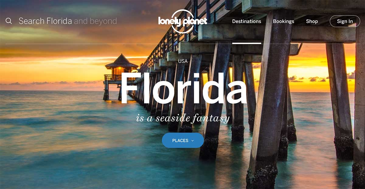Screenshot of the Florida page of the Lonely Planet website