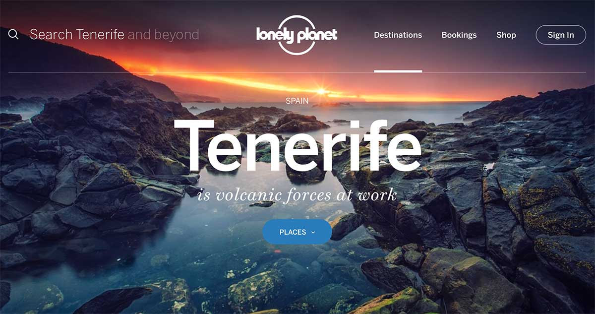 Screenshot of the Tenerife page of the Lonely Planet website