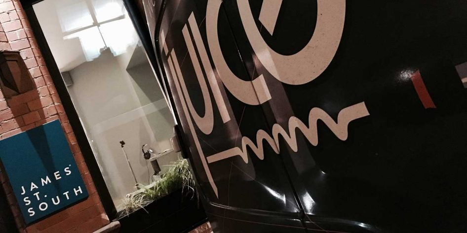 Photo of the Juice van outside James Street South restaurant Belfast