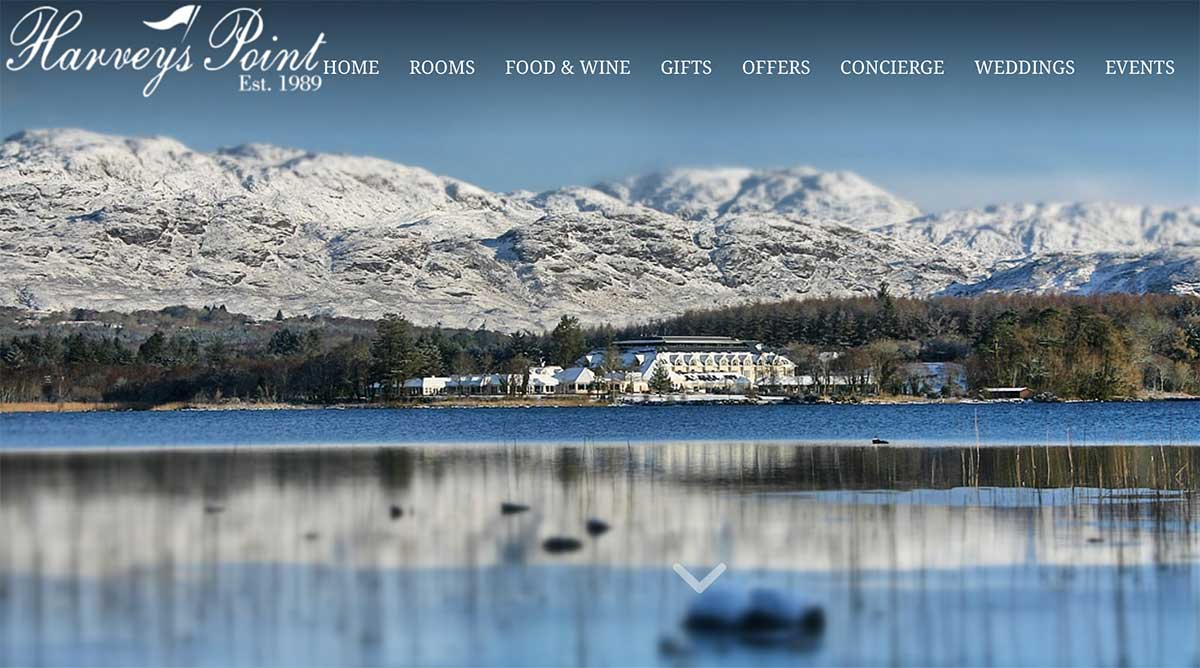Screenshot of the Harveys Point Hotel Donegal website