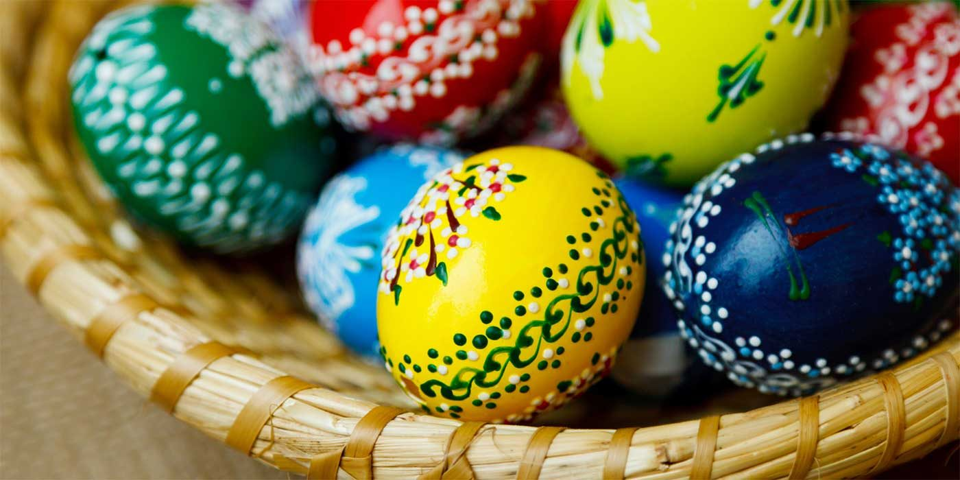 Photo of Easter eggs in a basket