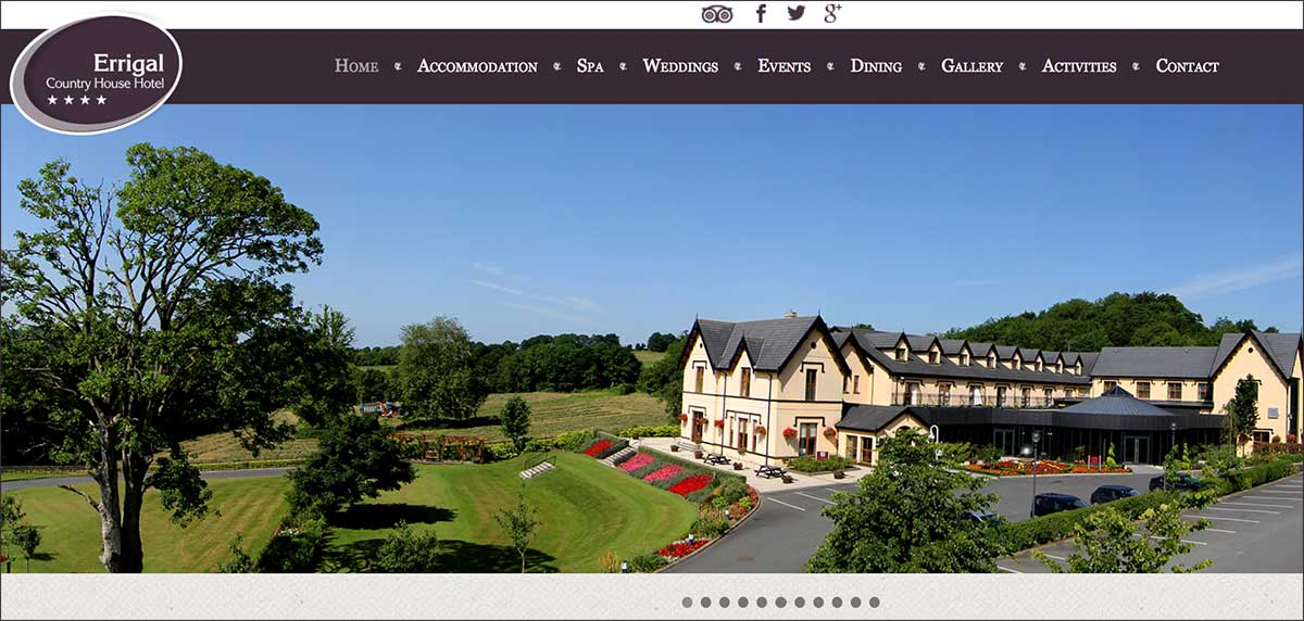 Screenshot of the Errigal Country House Hotel and wedding venue Cootehill County Cavan