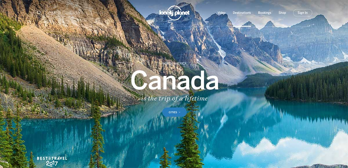 Screenshot of the Canada page of the  Lonely Planet website
