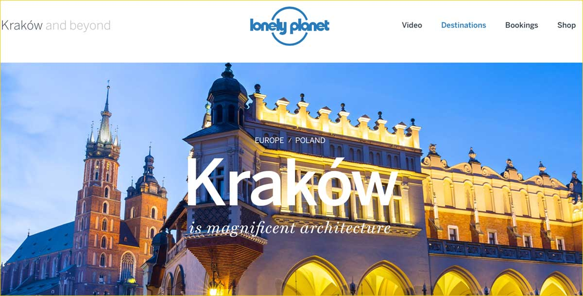 Screenshot of the Krakow page of the Lonely Planet website