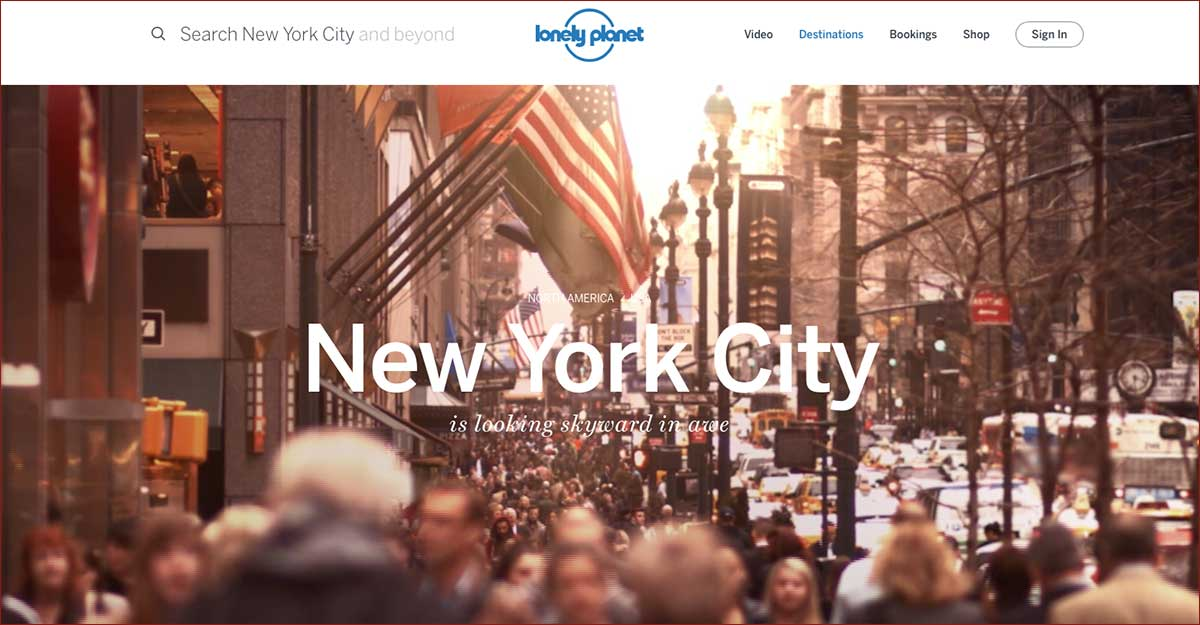 Screenshot of the New York City page of the Lonely Planet website