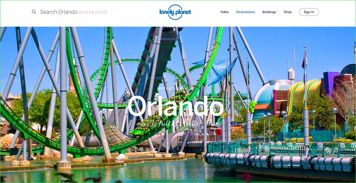 Screenshot of the Orlando webpage of the Lonely Planet website