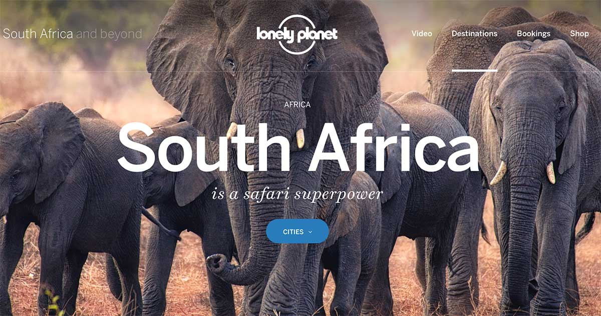 Screenshot of the South Africa page of the Lonely Planet website