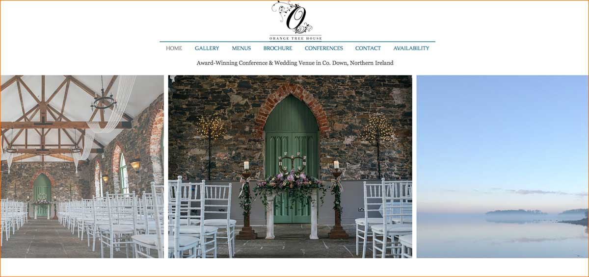 Screenshot of the Orange Tree House wedding venue Greyabbey County Down
