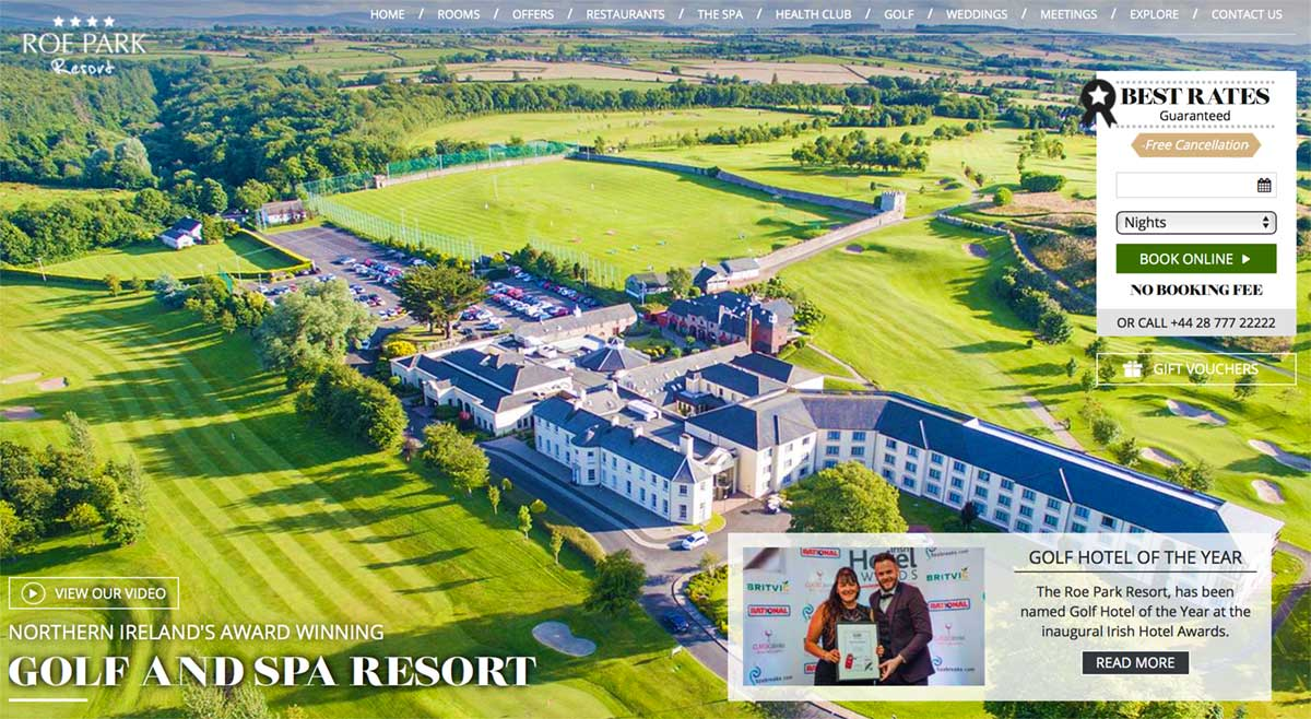 Screenshot of the Roe Park Resort Limavady hotel and wedding venue