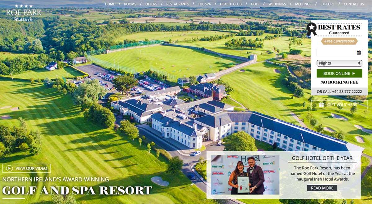 Screenshot of the Roe Park Resort Limavady website